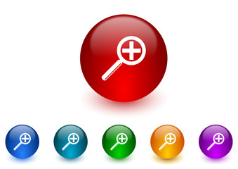 lens internet icons colorful set