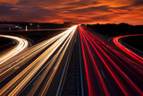 Speed Traffic - light trails on motorway highway at night - 70196302