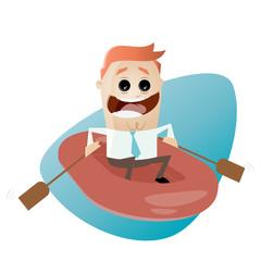 gummiboot business cartoon rudern mann