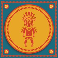 aztec on stylized background