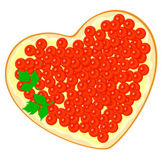 Sandwich with red caviar in a heart shape