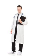 Young doctor posing with a clipboard