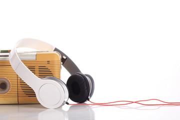 music radio and white headphone