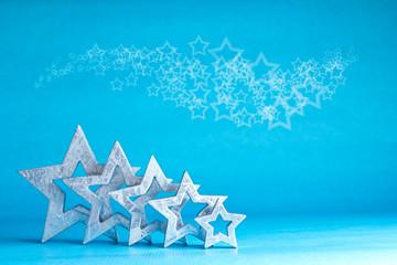 Viele Sterne silber weiß blau