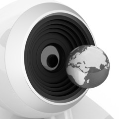 Web-cam and earth. Global on line concept. Close-ap
