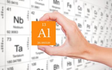 Aluminium symbol handheld in front of the periodic table