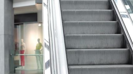 Escalators at the mall closeup