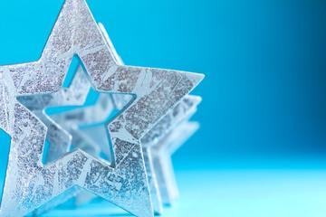 Sterne silber blau Nahaufnahme