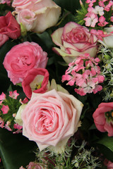 Mixed pink bridal flowers