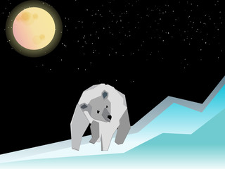 Polar bear and in north pole
