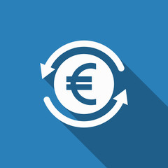 money convert icon with long shadow