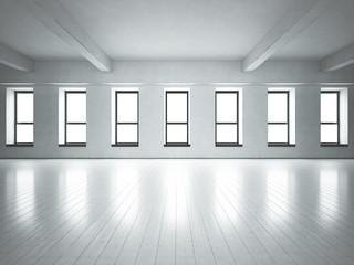 Loft space windows. White concrete.