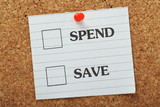 Tick Boxes for the choices to Spend or Save on a notice board poster