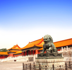 Ancient lion statue, Forbidden City, Beijing, China
