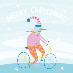 Cute snowman on bicycle in cartoon style.