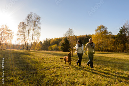 Couple walk dog in countryside autumn sunset Poster