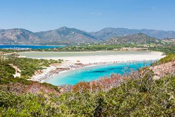 Porto Giunco beach from old tower. Sardinia Island. Italy.