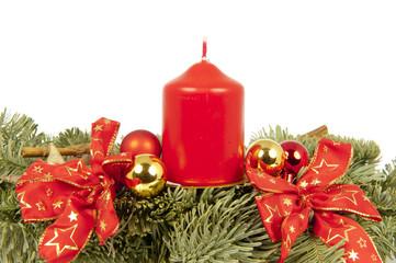Christmas piece ribbon balls candles