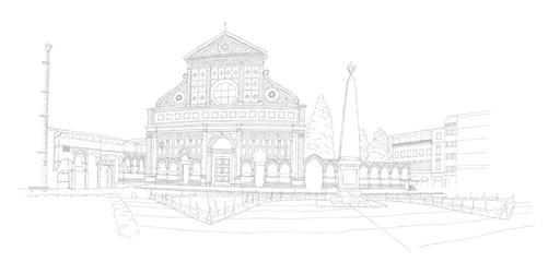Basilica Santa Maria Novella in Florence, Italy - urban sketch