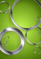 Bright green backdrop with metallic circles
