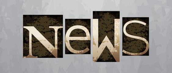 Vector news concept, vintage letterpress type