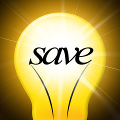 Save Lightbulb Represents Saved Cash And Lamp