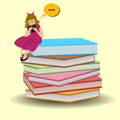 Girl is sitting on books and like to read book