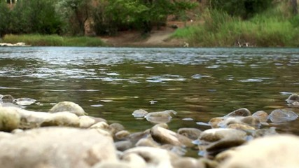 Mountain river in the plains with pebble