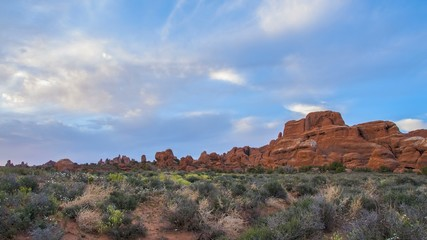 View from the Fiery Furnace Overlook at Sunset Arches National P