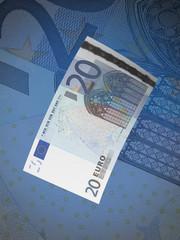 Twenty euro bill collage with blue tone