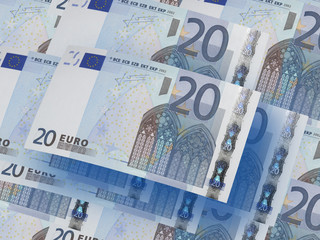Twenty euro bills collage. Horizontal format