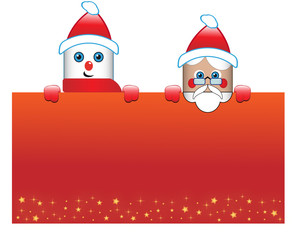 Christmas postcard with Puppet and Santa Claus