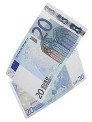 Twenty euro bills isolated on white