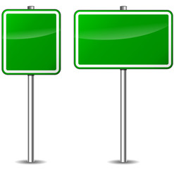 Vector green blank traffic signs