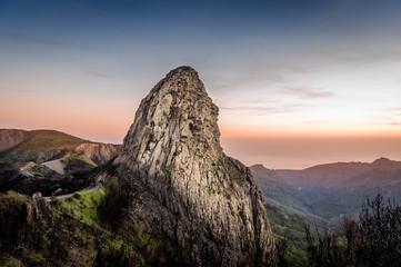 High rock at sunset