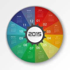 2015 Calendar Design Template - Week Start With Sunday