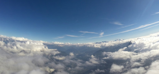 Aerial View - Alps, Clouds and Blue Sky - 4000m