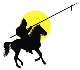 Medieval oriental horseman vector silhouette