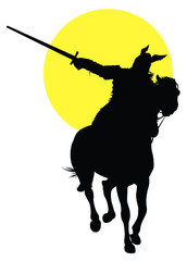 Viking with sword on horseback vector silhouette