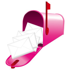 Pink full mailbox