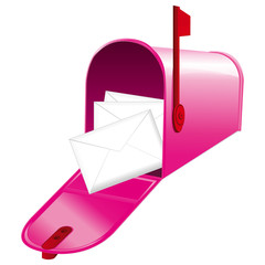 Pink open mailbox