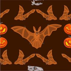 Halloween Seamless texture  bat pumpkin and  skull  vector