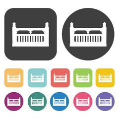 Decorative balconie icons. Balconie set. Round and rectangle col