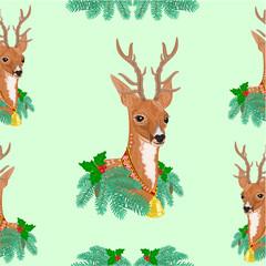Seamless texure Christmas reindeer holidays vector