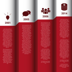 Infographics timeline red & white wall vector report