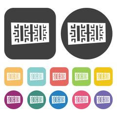Illustrative railings icons. Balconie set. Round and rectangle c