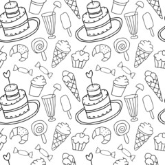 Hand Drawn Confectionery seamless