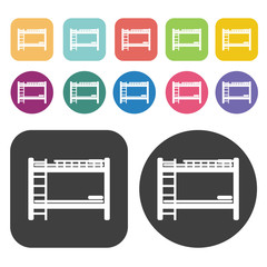 Bunk bed icons. Bed mattress set. Round and rectangle colourful