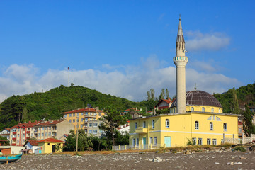 Mosque on the coast of Black sea in Inebolu