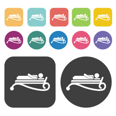 Beach bed icons. Bed mattress set. Round and rectangle colourful